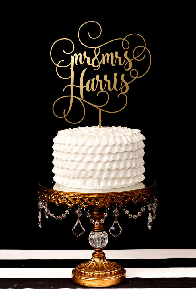 Custom Last Name Wedding Cake Topper