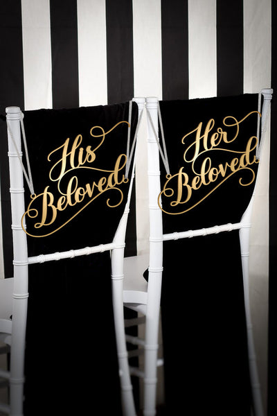 His Beloved and Her Beloved Wedding Chair Signs