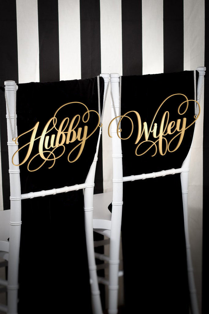 Hubby & Wifey Chair Signs
