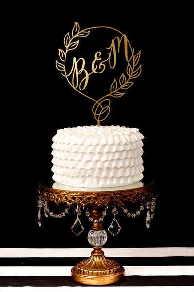 Custom Monogram Wedding Cake Topper with Laurel