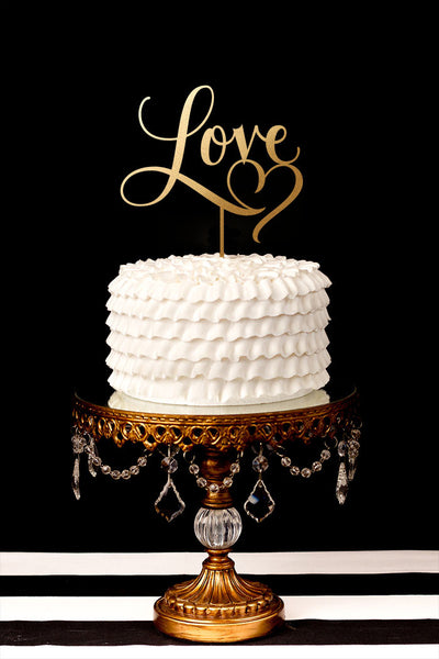 Love Cake Topper With Heart Flourish