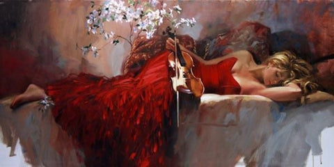 Twiglight Muse - Hand Embellished Giclée on Canvas by Richard Johnson