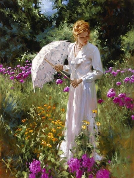 Wild Gardens and Lace - Hand Embellished Giclée on Canvas by Richard Johnson