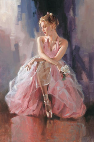 Rose Slipper  - Hand Embellished Giclée on Canvas by Richard Johnson