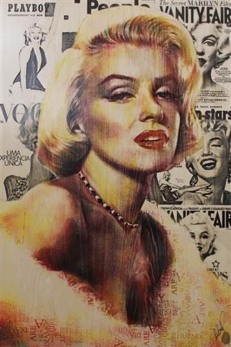 Monroe Glamour - Mixed Media on Board