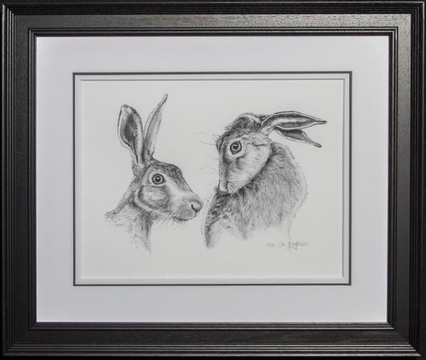 Shy Hares - Framed - Giclee on paper by Al Hayball
