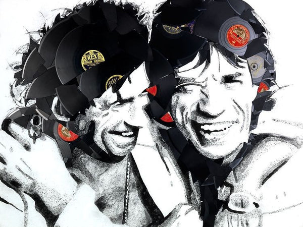 Mick and Keith Vinyl Canvas by Ben Riley