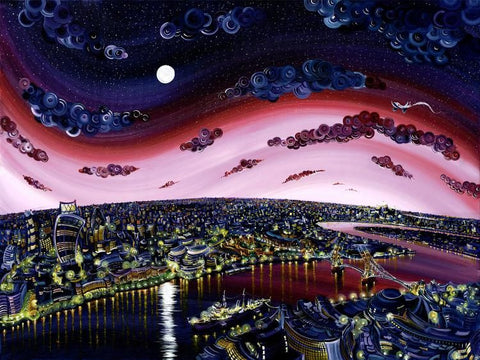 London Illuminations - Giclee on Canvas Board by Rayford