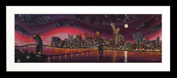 Moonlight on Manhattan - High Gloss Resin with 3D Elements - Framed by Rayford