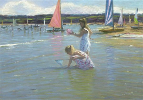 Catching Tiddlers - Giclee on Canvas Board by Steven Jones