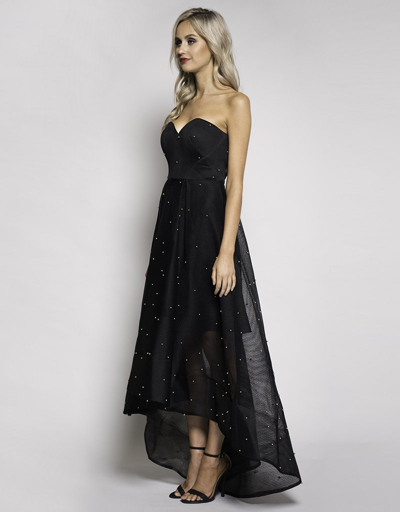 Davis Mesh Strapless High Low Gown