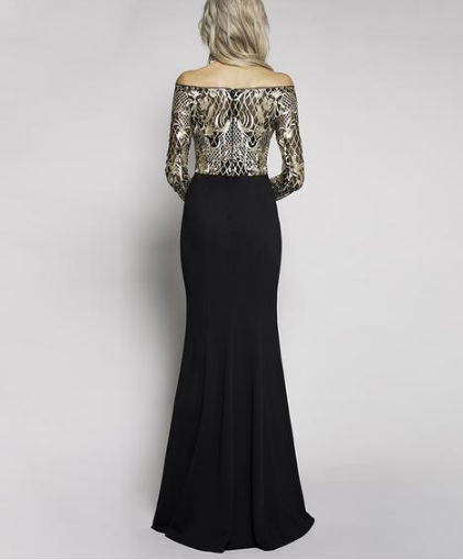Billie Jean Sequin Lace Long Sleeve Gown