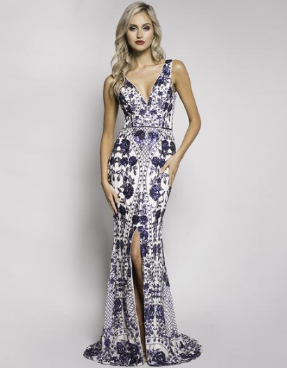 HELENA PATTERN SEQUIN LOW V-NECK GOWN