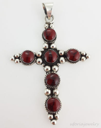 Sterling Silver Jasper Cross Pendant