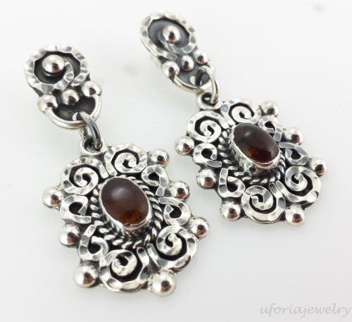 Sterling Silver Baroque Amber Earrings