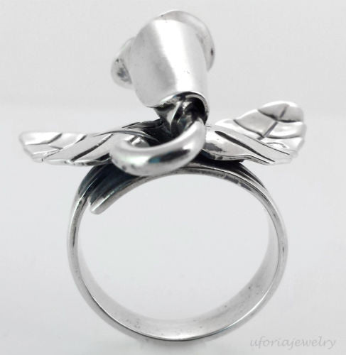 Sterling Silver Callalily Flower Ring Adjustable