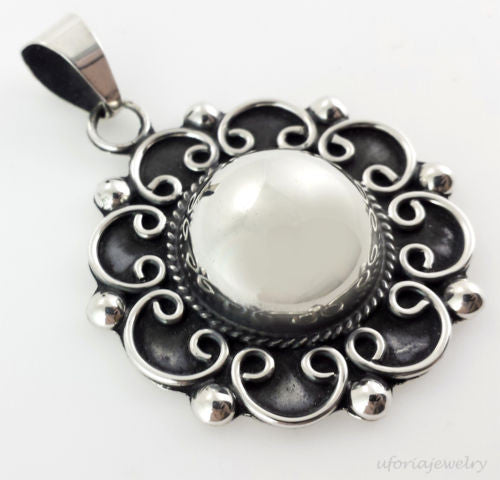 TAXCO 925 VINTAGE STYLE BAROQUE FLOWER PENDANT Mexico Sterling Silver Jewelry