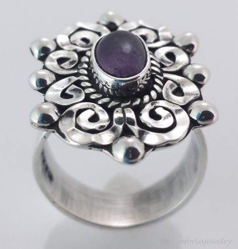 Vintage Style 925 Baroque Amethyst Ring Adjustable