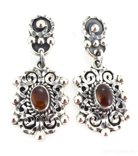 TAXCO 925 BAROQUE AMBER EARRINGS  Mexico Vintage Style Sterling Silver