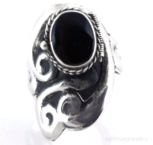 Taxco Vintage Style 925 Onyx Poison Ring Adjustable
