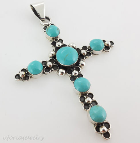 TAXCO VINTAGE STYLE 925 TURQUOISE CROSS PENDANT MEXICO STERLING SILVER