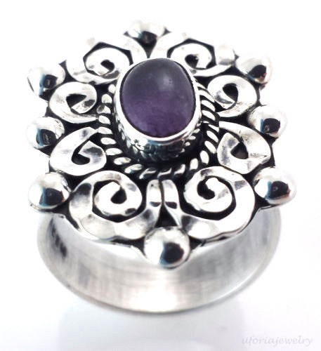 TAXCO VINTAGE STYLE 925 BAROQUE AMETHYST RING ADJUSTABLE-Mexico Sterling Silver