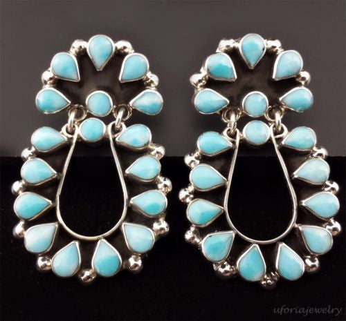 TAXCO 925 HANDMADE EARRINGS WITH LARIMAR Mexico Vintage Style Sterling Silver