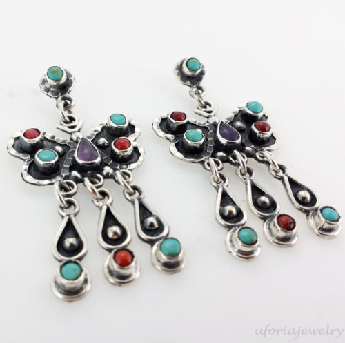 Sterling Silver Amethyst Turquoise Coral Earrings