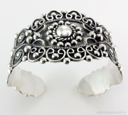 925 TAXCO VINTAGE STYLE BAROQUE CUFF BRACELET Mexico Sterling Silver Jewelry