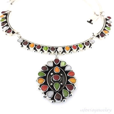 PRECIOUS TAXCO 925 VINTAGE STYLE COLORED BEADS NECKLACE Mexico Sterling Silver