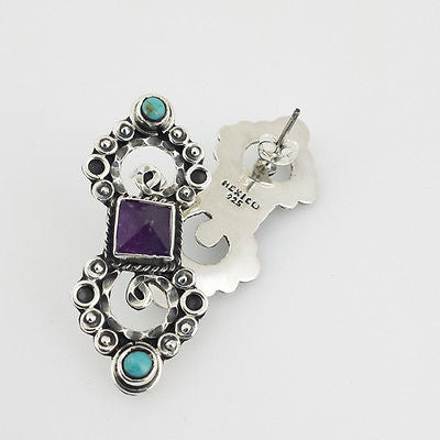 Sterling Silver Amethyst & Turquoise Earrings