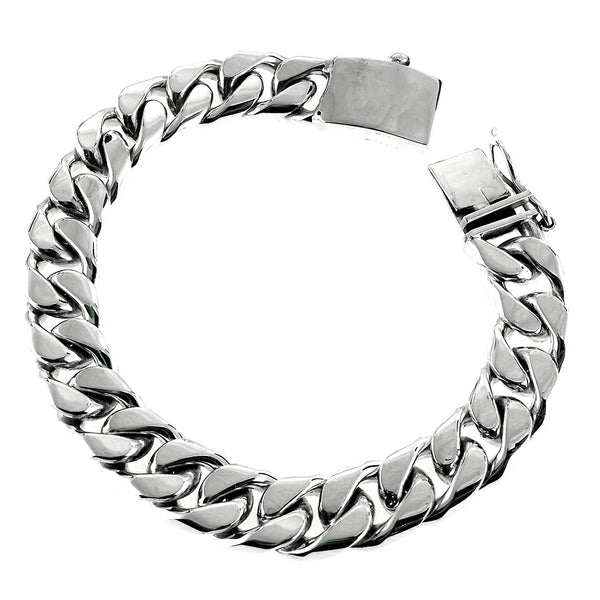 Sterling Silver 925 13mm Heavy Men's Cuban Chain Bracelet