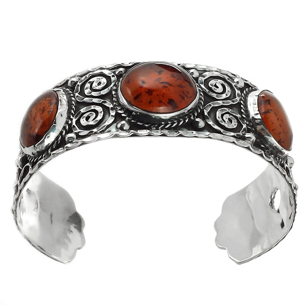 Taxco Vintage Style 925 Amber Baroque Cuff - Uforia