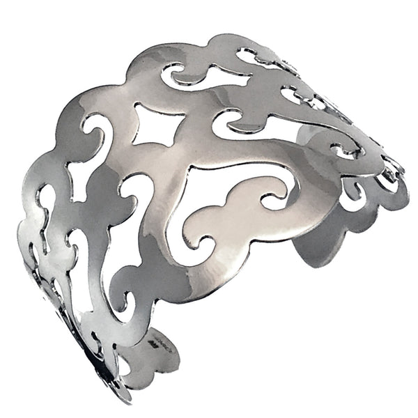 Sterling Silver Wide Waves Cut Out Cuff Bracelet