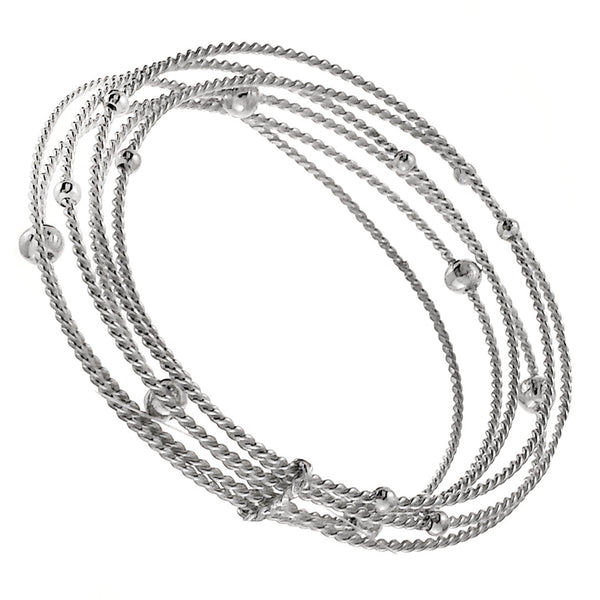Sterling Silver Twisted Rope Beaded Six Bangle Set Bracelet
