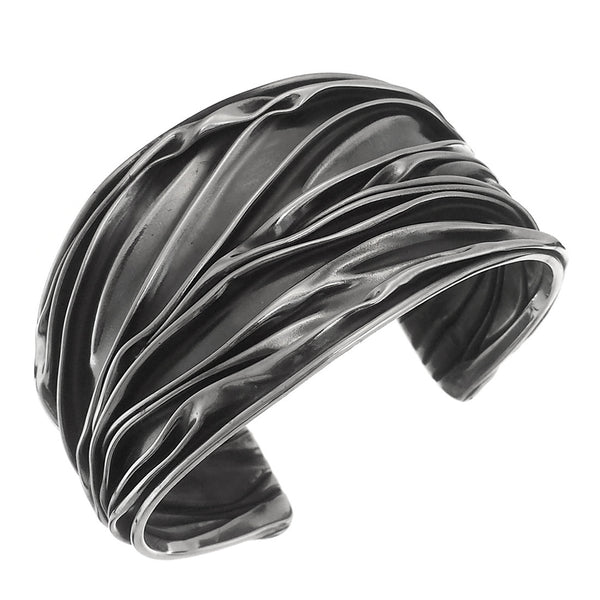 Sterling Silver Tapered Crinkle Cuff Bracelet