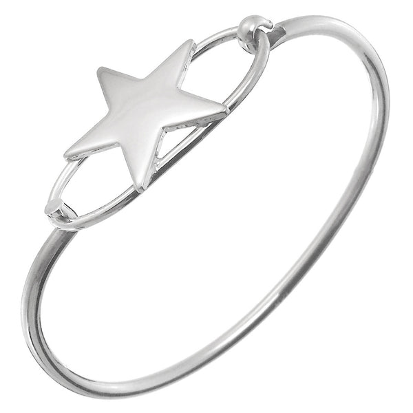 Sterling Silver Star Openable Bangle Bracelet