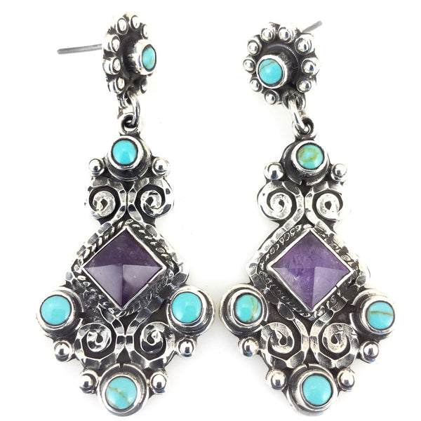 Sterling Silver Amethyst Turquoise Earrings