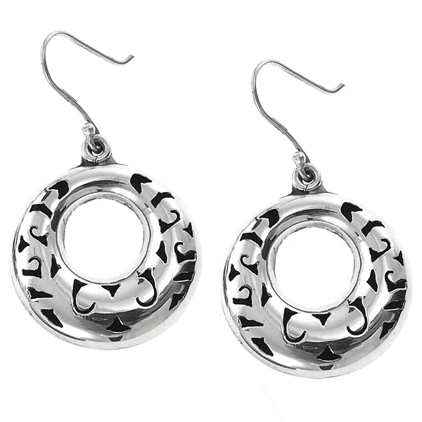 Sterling Silver Cut Out Hoop Drop Earrings