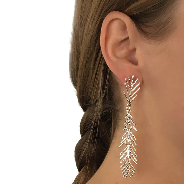 Sterling Silver Cut Out Leaf Earrings