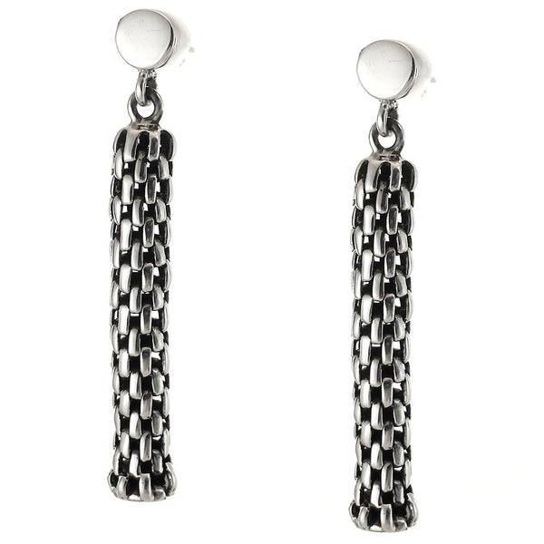 Sterling Silver Cylinder Earrings