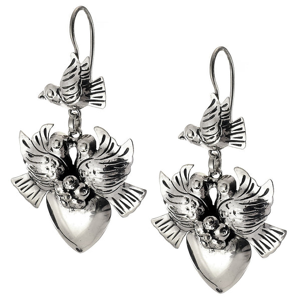 Sterling Silver Bird and Heart Earrings