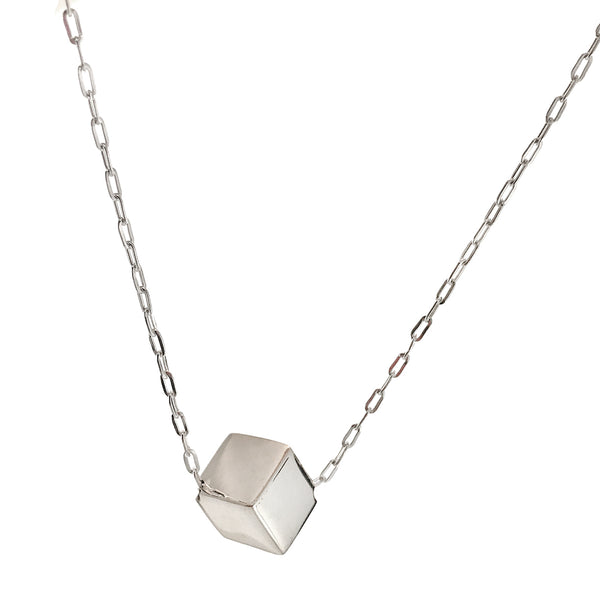 Sterling Silver Cube Pendant Necklace