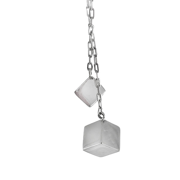 Sterling Silver Two Cube Pendant Necklace