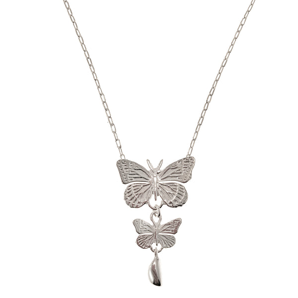 Sterling Silver Two Butterflies Necklace
