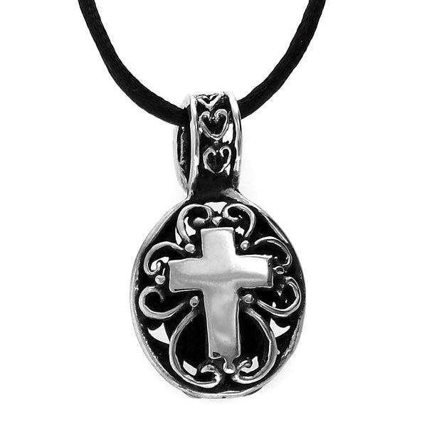 Sterling Silver Oxidized Round Cross Pendant