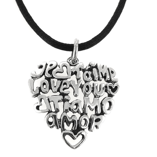 Sterling Silver I Love You Heart Pendant