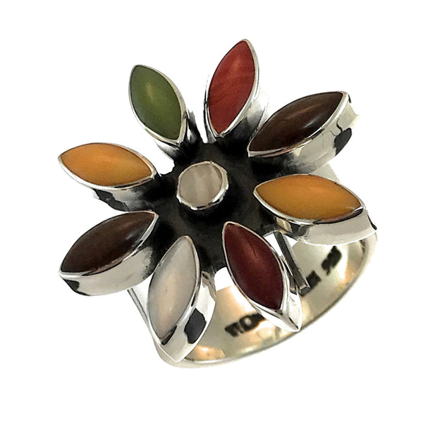 Sterling Silver Flower Mosaic Ring Adjustable