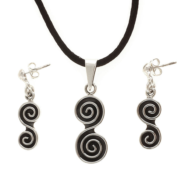 Sterling Silver Labyrinth Spiral Earrings and Necklace Set