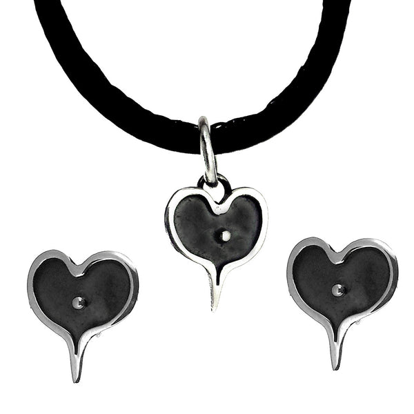 Sterling Silver Oxidized Hearts Earrings and Necklace Set